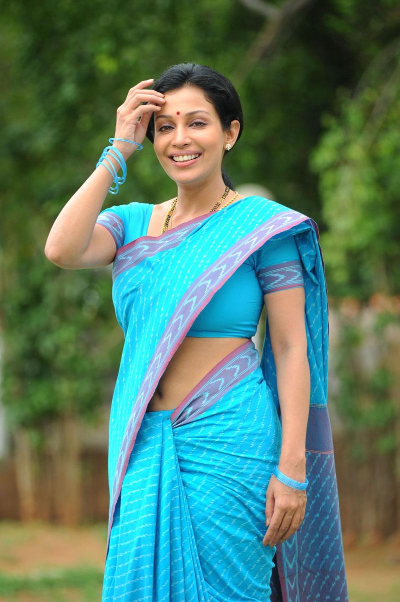 Flora Saini Latest Photo Shoot In Blue Saree