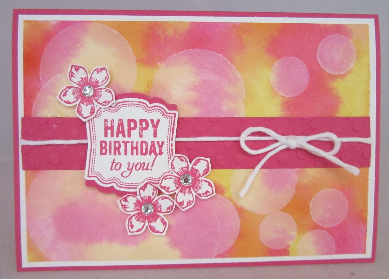 Pink, orange and yellow birthday card