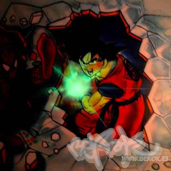 Graffiti Goku con las luces apagadas