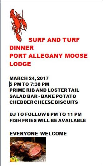 3-24 Surf & Turf Dinner Port Allegany Moose