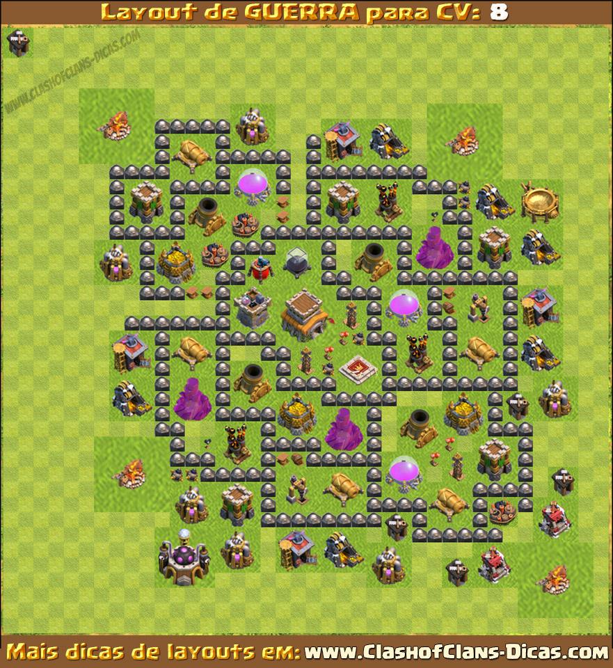 Layouts para cv8 em guerra clash of clans dicas gemas gr 225 tis