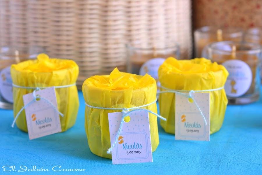 detalles naturales para bautizos velas de miel personalizadas