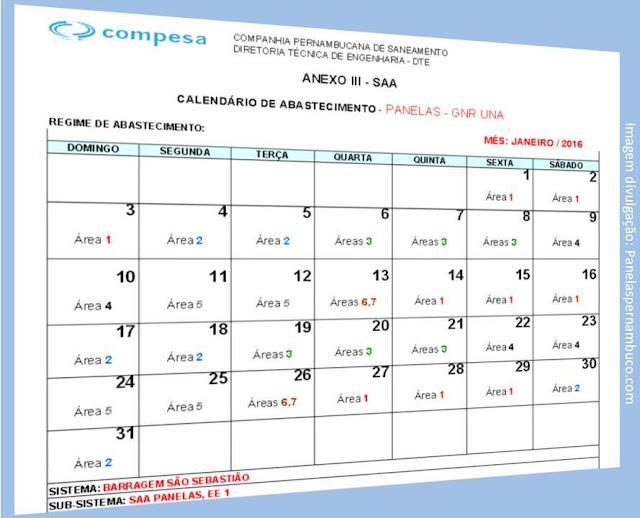Calendário de abastecimento de água de janeiro 2016