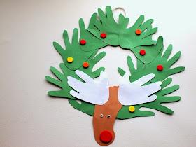 hand and foot print reindeer wreath Christmas