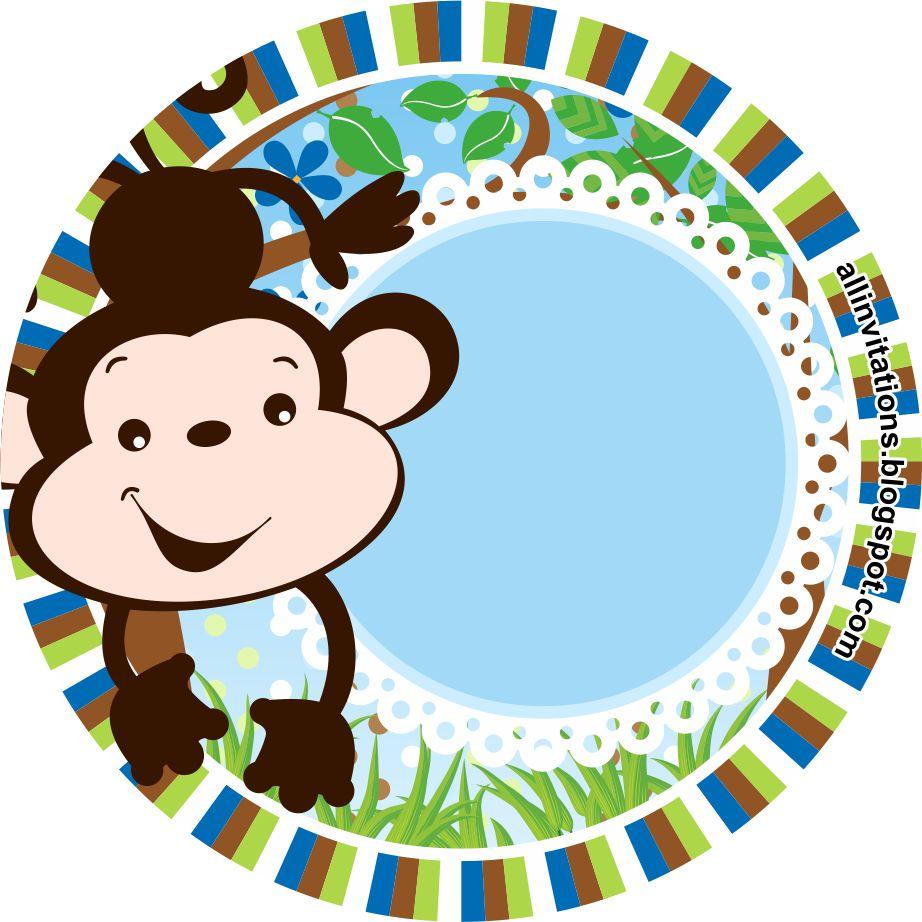 Plantillade una etiqueta redonda para baby shower con el tema un changuito