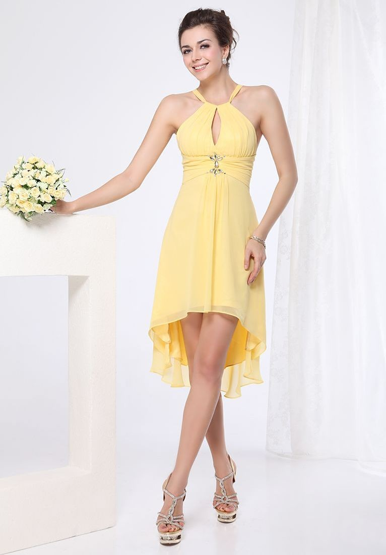Whiteazalea simple dresses yellow bridesmaid dresses make your chiffon halter a line high low short bridesmaid dress ombrellifo Images