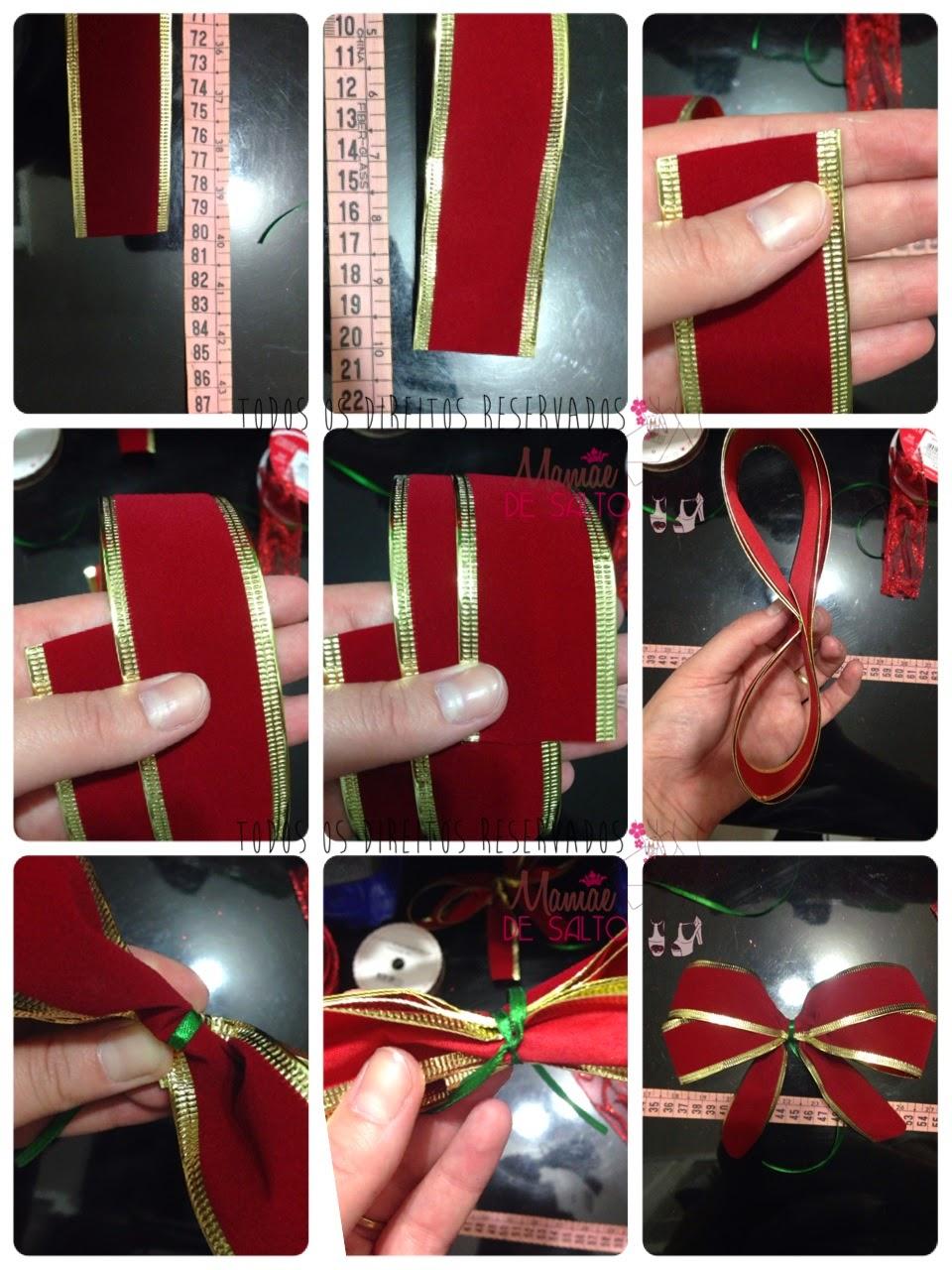 fotorial foto tutorial de como fazer laço para o Natal => todos os direitos reservados blog Mamãe de Salto
