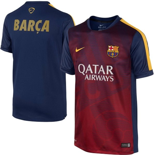 Jersey Training Barcelona New Biru Garis Garis 2015-2016