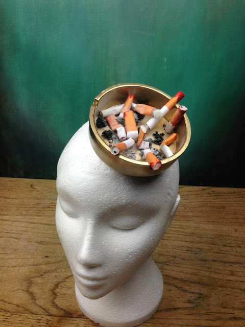 ashtray hat fascinator cigarette decadent trashy bespoke custom piece millinery surreal