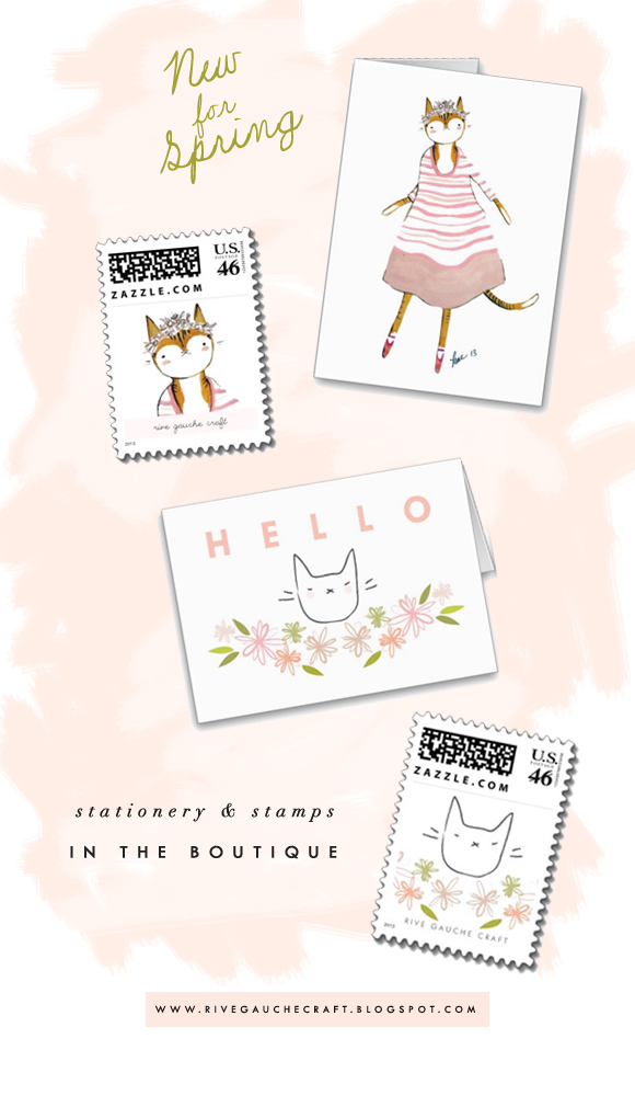 Cards, stationery, and postage stamps featuring painted cats and flowers