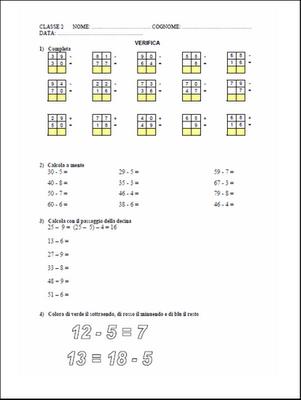 Verifiche Matematica Scuola Primaria La Sottrazione Scheda Classe