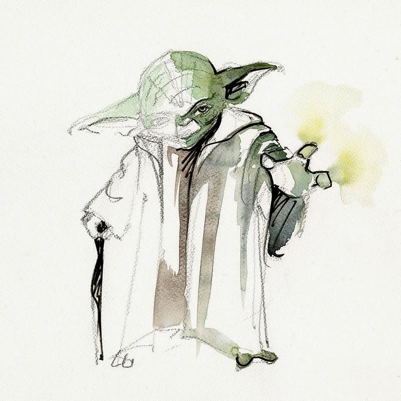 12-Yoda-Warwick-Davis-Clémentine-Campardou-Blule-Star-Wars-IV-V-VI-Watercolors-www-designstack-co