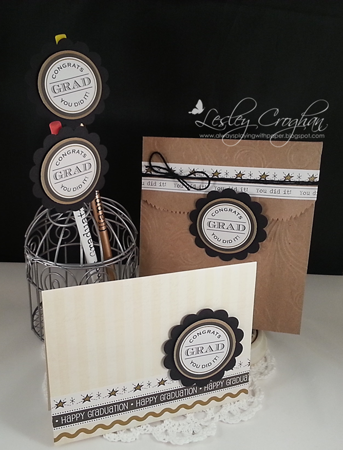 SRM Stickers Blog - Graduation Treats by Lesley - #card #graduation #kraft #bag #pencils #stickers #embossed #twine