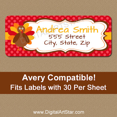 personalized thanksgiving return address labels with turkeys