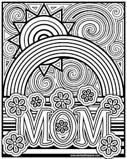 Mom coloring page with rainbows, flowers and a sun- available in jpg and transparent png