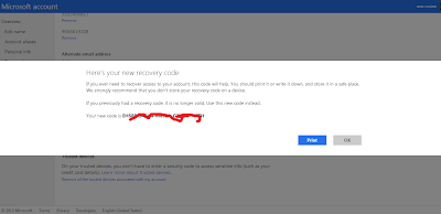 Adding Recovery Code For Microsoft Account