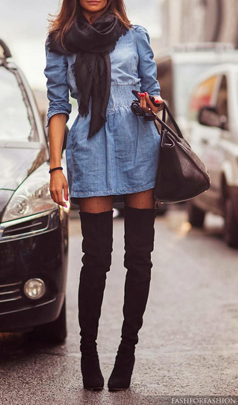 Scarf, denim dress, leggings and handbag