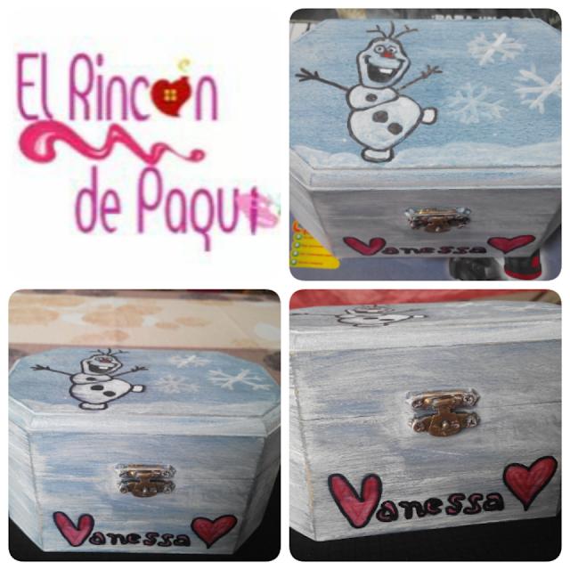 Joyero/Cajita de madera pintada a mano con pintura acrílica con tema de Frozen y Olaf