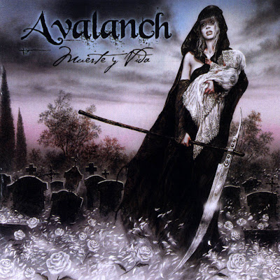 metal album cover woman with scythe