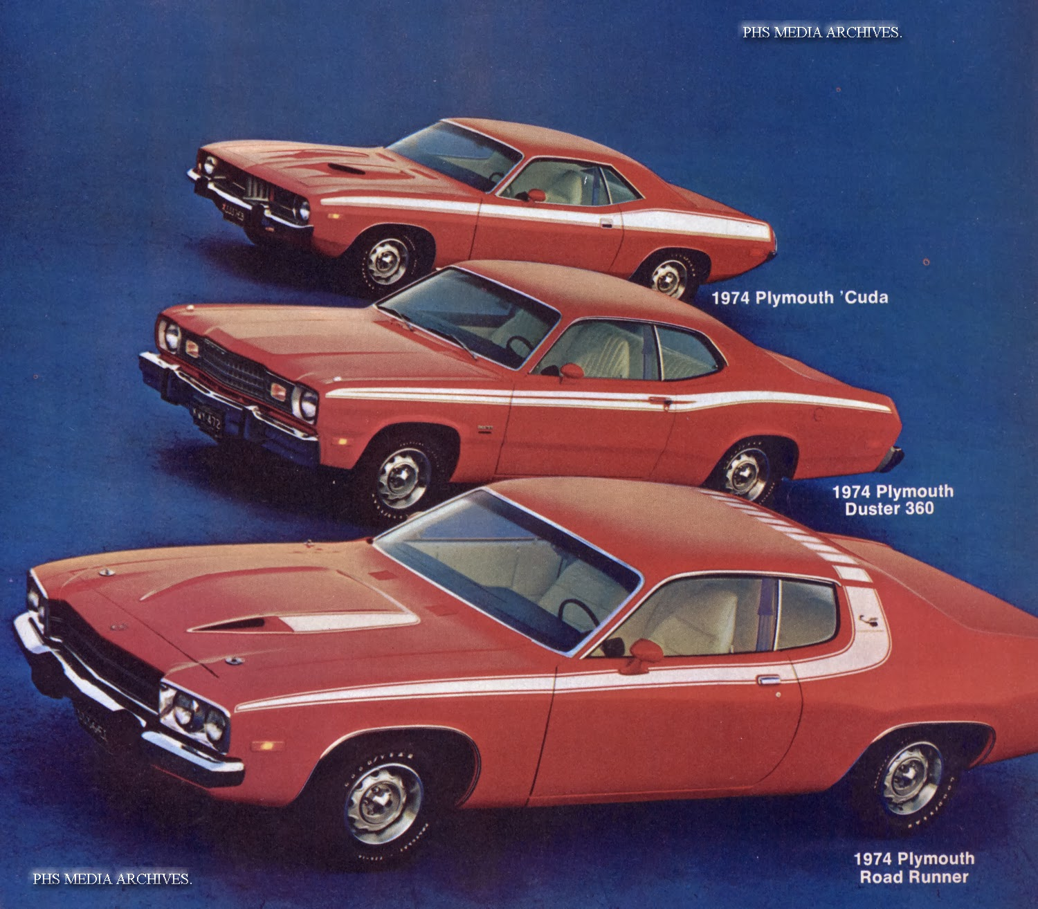 The 1974 Duster 360 was promoted by sandwiching it between the Roadrunner  and 'cuda.
