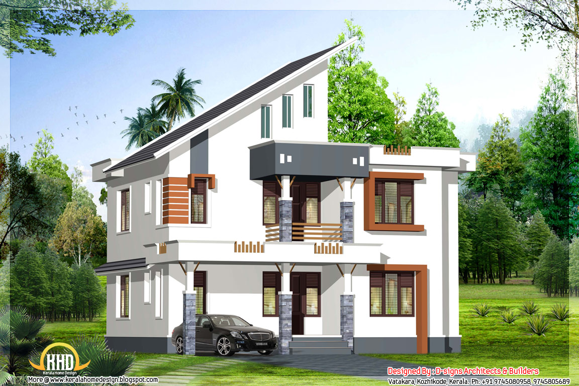 Exterior collections kerala home design 3d views of residential bangalows Home design