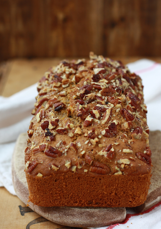 Pumpkin Bread recipe made with sunflower oil, greek yogurt and spices cinnamon, allspice, ginger and nutmeg