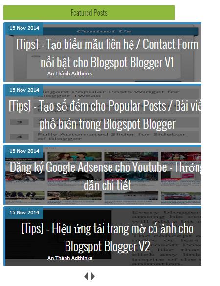 [Tips] - Recent Post / Bài viết mới nhất dạng Slide tự trượt cho Blogspot Blogger V1