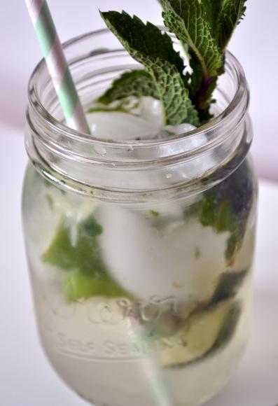 Mojito mint drink in mason jar