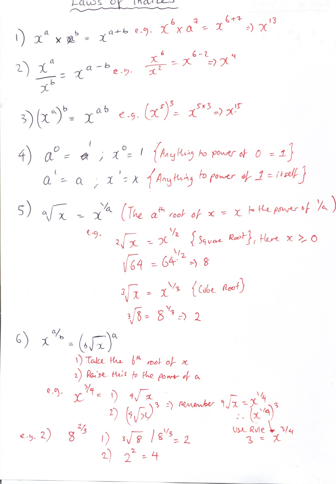 Handwritten Notes On Laws Of Indices (printable)pleting The Square  Harder Example
