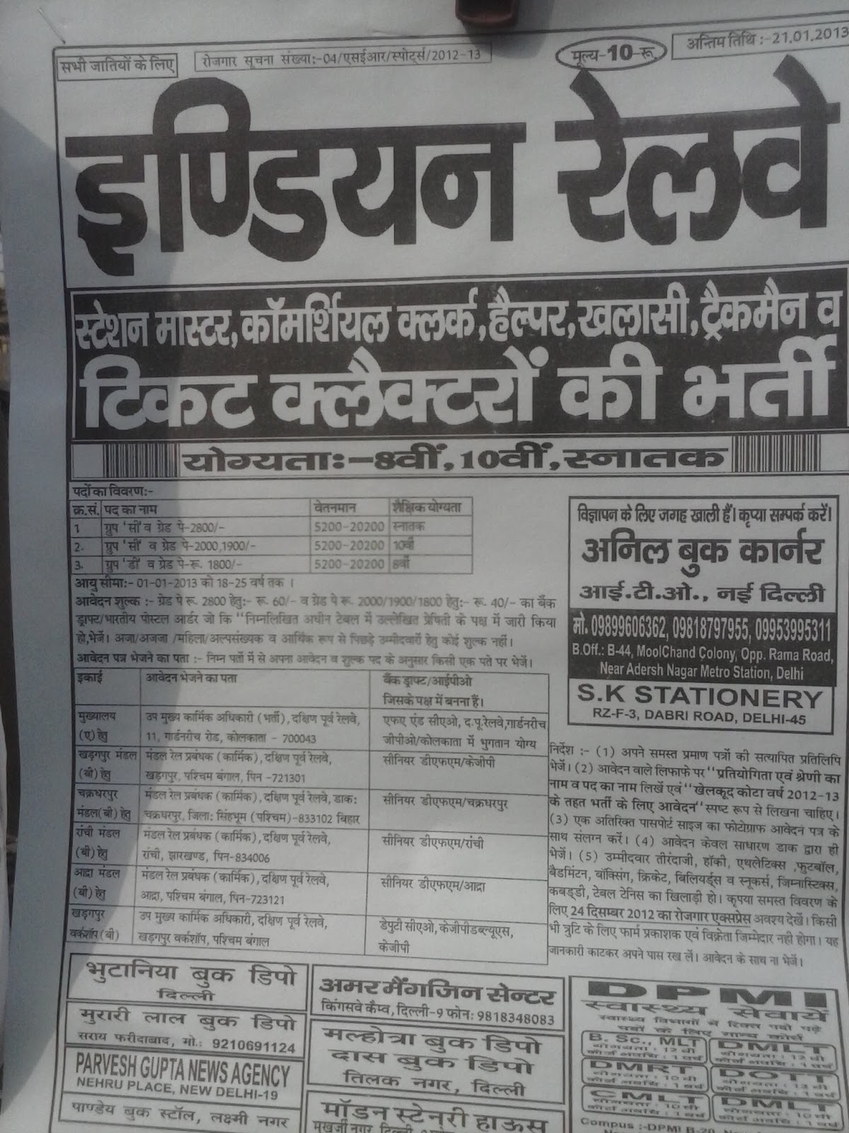 Railway bharti ticket collector, gang man, Track men, Helper bharti in