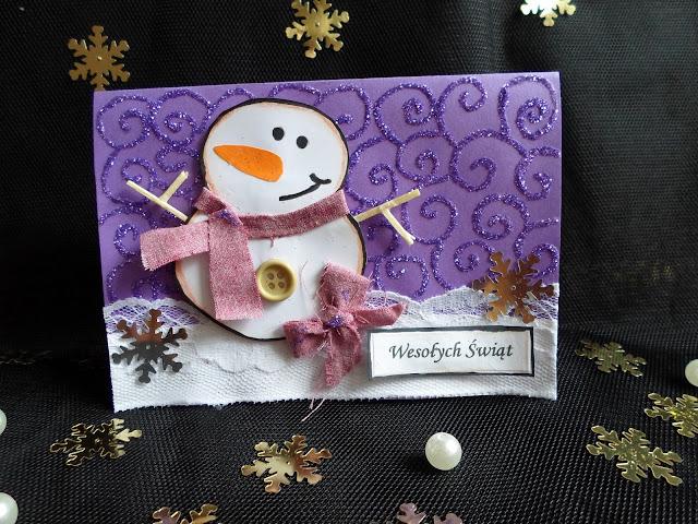 Kartki świąteczne bałwanek DIY