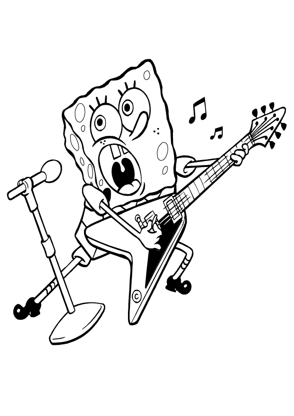 Cartoon Coloring Pages Spongebob Playing Guitar