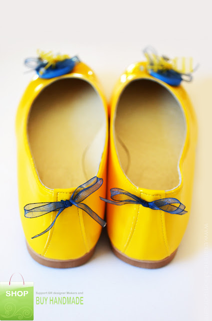 Κίτρινες μπαλαρίνες λουστρίνι με κουμπί, φιόγκους, κρυσταλλάκια και μεταλλικό παπουτσάκι