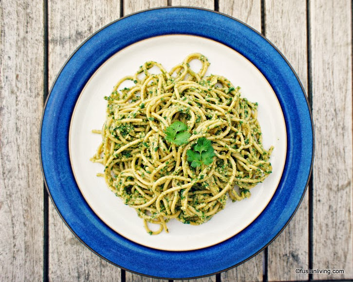 Spaghetti tossed in Pesto recipe