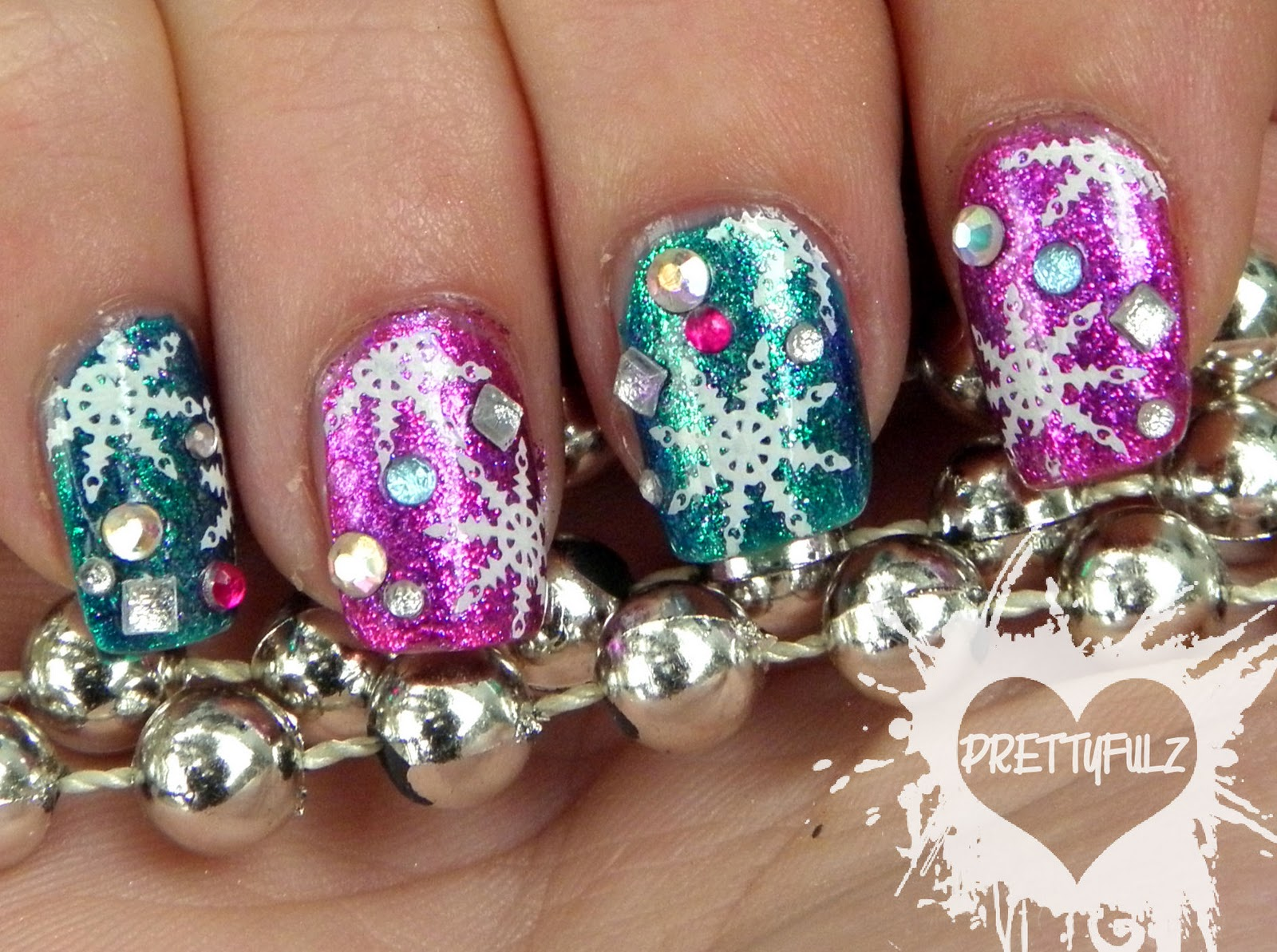 Prettyfulz Holiday Celebration Snowflake Nail Art