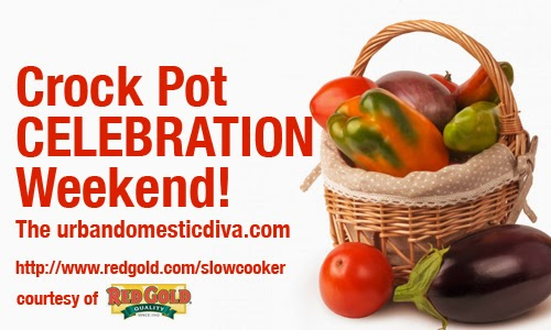 recipe: crock pot celebration weekend with red gold tomatoes! / slow cooker stuffed pork roast with mushroom and tomatoes