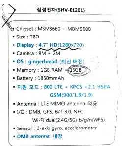 SHV-E120L Samsung Leaks, Upper Class Specifications
