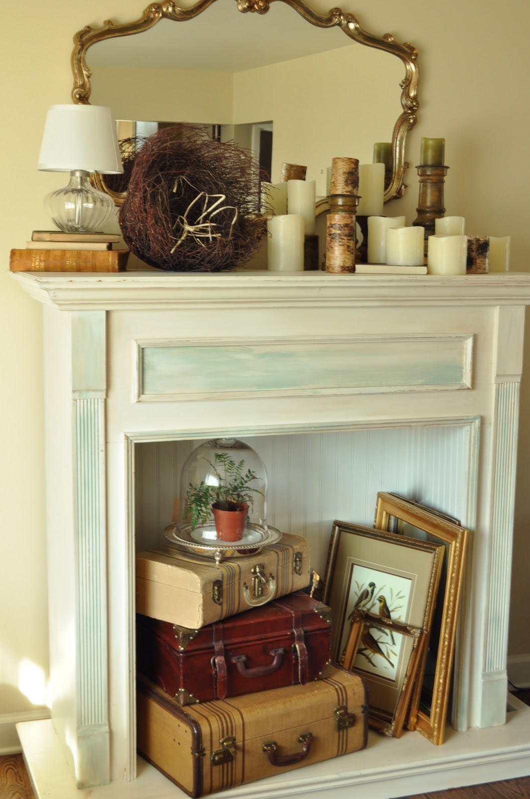 adding the finishing touch with a faux fireplace mantel jennifer rizzo. Black Bedroom Furniture Sets. Home Design Ideas