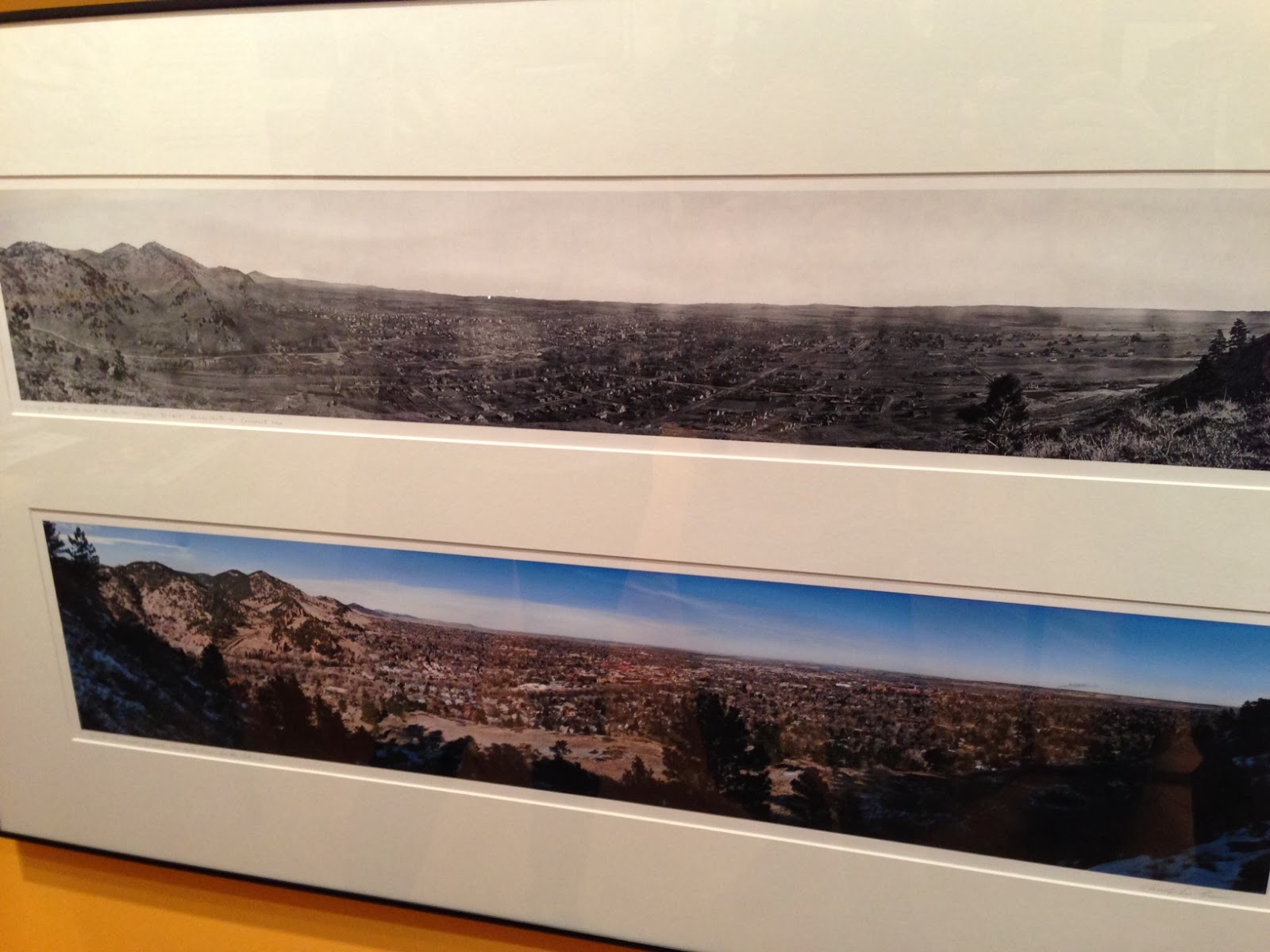 A panoramic photo showing the changes in the city of Boulder over the course of the past 100 years
