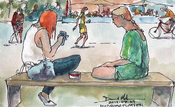 A watercolour of a sunny Medborgplatsen by David Meldrum