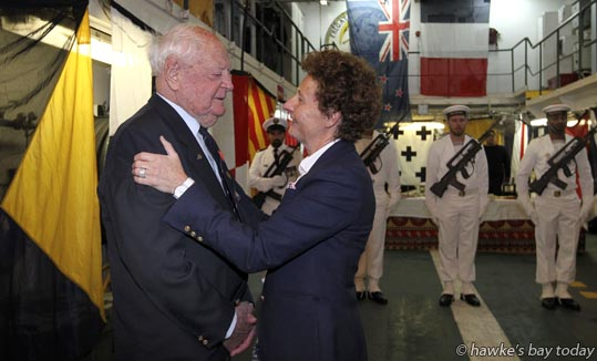 Maxwell Collett with Mrs Florence Jeanblanc-Risler, the French Ambassador, who presented three Legion dHonneur medals, on the French frigate FNS Prairial, berthed in Napier Port, Napier. photograph