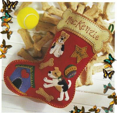 Bota de Natal Cachorrinho - Feltro com Molde