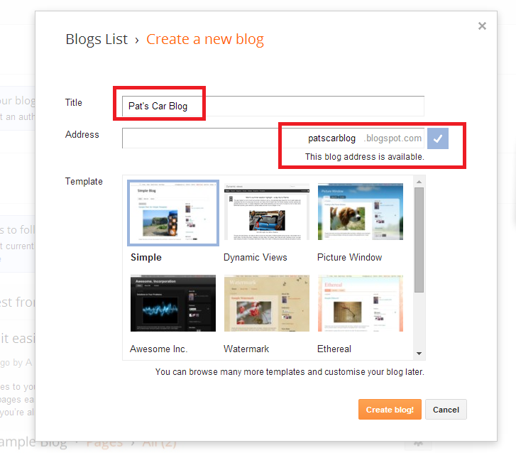 Pick Your blogs title, URL and template on Blogger