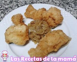 Receta de Bacalao rebozado con cebolla frita