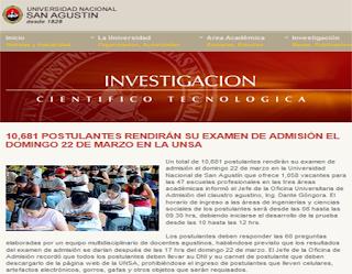Resultados Exámen de Admisión UNSA 2015-III Universidad San Agustín Arequipa 22 de Marzo