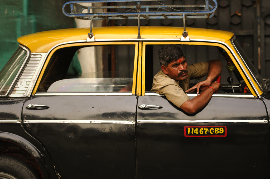 Taxi driver in Bombay in India.