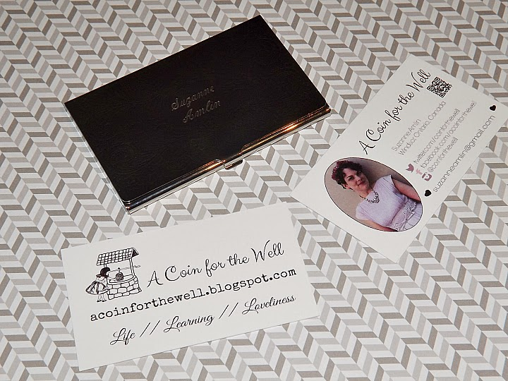 Overnight Prints, business cards, Suzanne Amlin, Etsy engraved business card case, A Coin For the Well
