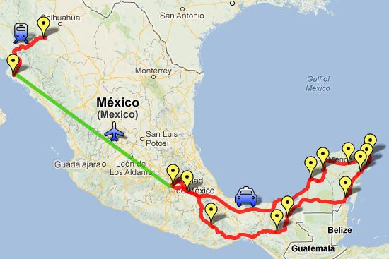 mapa de viagem pelo mexico