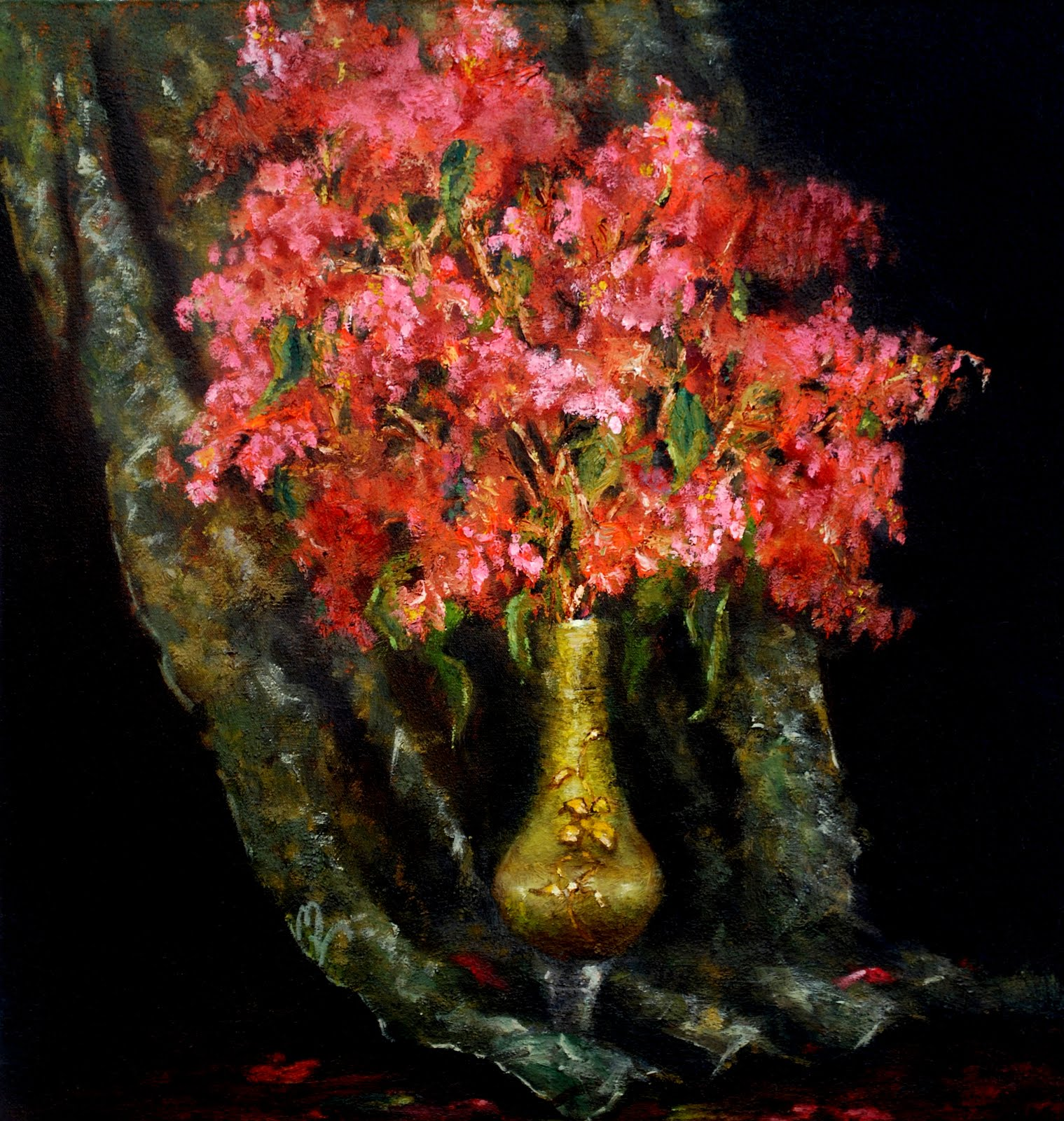 Crepe Myrtle and Green Vase
