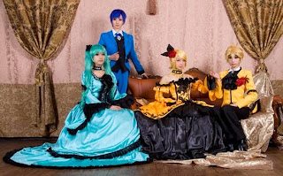 Vocaloid Servants of Evil Miku-Rin-Len-Kaito cosplay by Tasha-Ren-Ricu-Saya